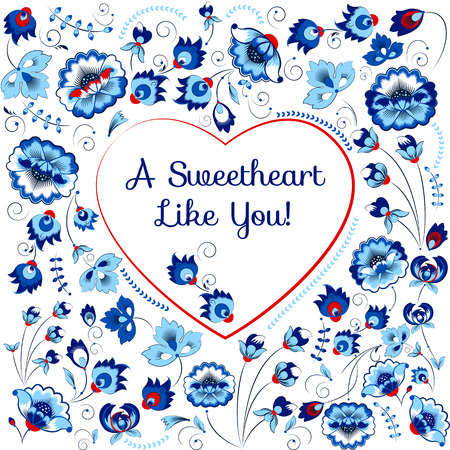 slavic: Vector Valentine card with heart in slavic floral style, blue gamma