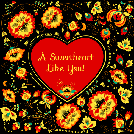 flowerbed: Vector Valentine card with heart in slavic floral style, black background