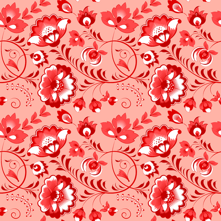 slavic: Slavic floral vector seamless pattern with roses and leaves