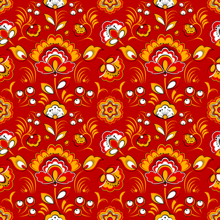 slavonic: Floral vector seamless pattern in Russian folk style Illustration