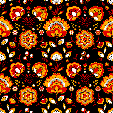 slavonic: Floral vector seamless pattern in Russian country style