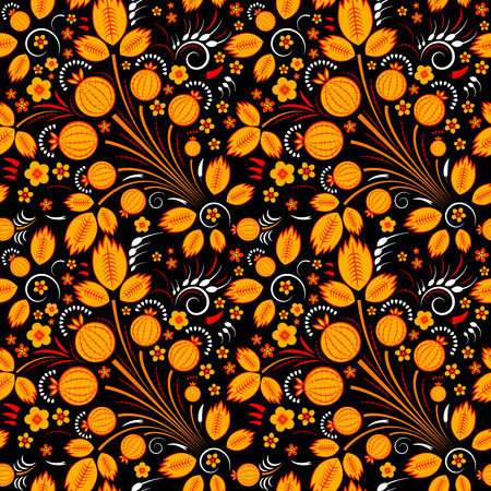 slavonic: Vector seamless pattern in slavic style with gooseberry, black back