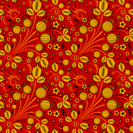 slavic: Vector seamless pattern in slavic style with gooseberry, red back