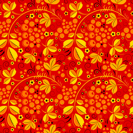 tradition: Seamless pattern in floral folk tradition with currant on red