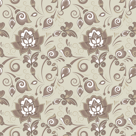slavonic: Floral seamless pattern in beige color scheme for textile or paper design