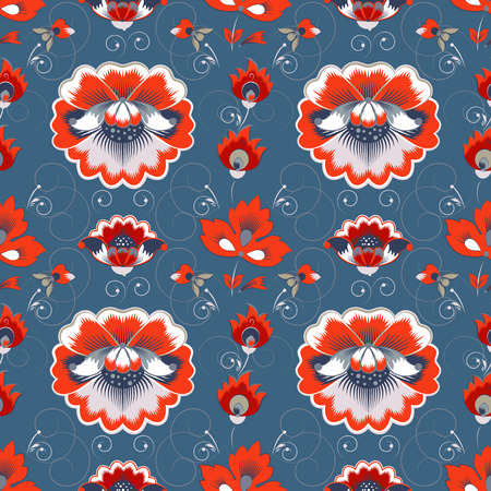 wild rose: Vector seamless pattern in slavic style with wild rose, grey and red