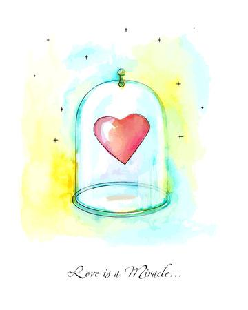 jealousy: Light red heart in a glass bubble, vextor watercolor