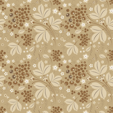 slavonic: Vector currant seamless pattern in beige color scheme