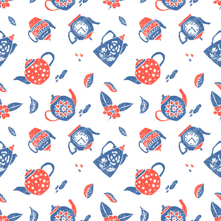 naive: Vector seamless pattern in naive lino style, teapots Print for textile, menu, tableware and other decoration