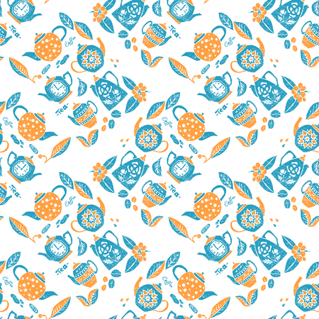 sleek: Vector seamless pattern in naive lino style, teapots anf leaves. Print for textile, menu, tableware and other decoration Illustration