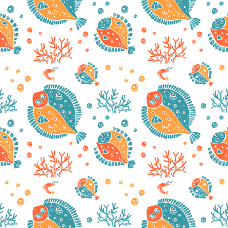 flounder: Vector seamless pattern in naive lino style, flounder and coral in green, red, orange. Print for textile, ceramic and other decoration Illustration