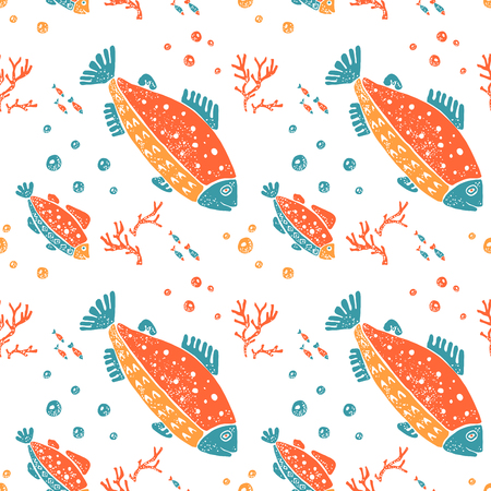 flounder: Vector seamless pattern in naive lino style, trout and coral. Print for textile, ceramic and other decoration
