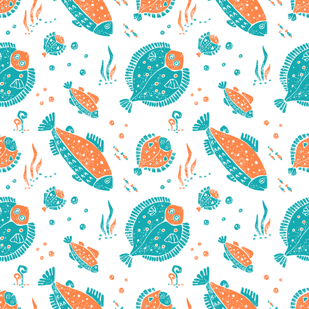 flounder: Vector seamless pattern in naive lino style, flounder and trout. Print for textile, ceramic and other decoration Illustration