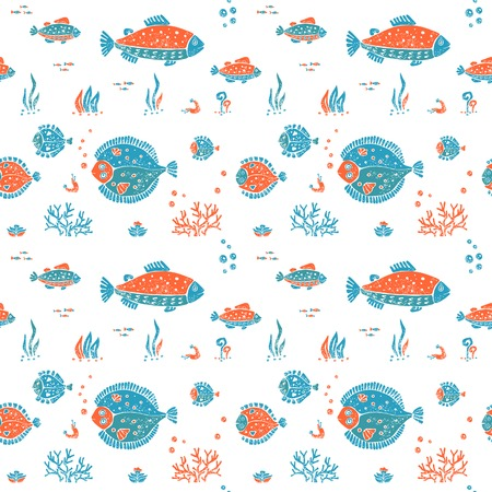 Vector seamless pattern in naive lino style, flounder and trout. Print for textile, ceramic and other decoration Illustration