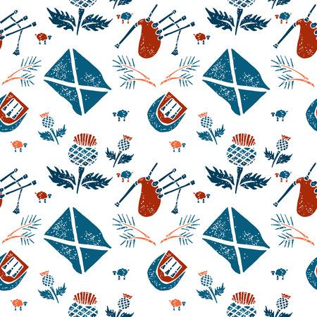 linocut: Vector seamless pattern with symbols of Scotland Illustration