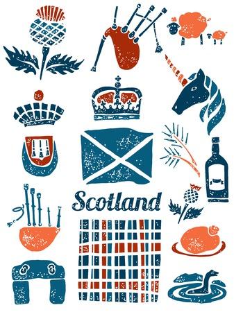 linocut: Symbols of Scotland vector set in lino style Illustration