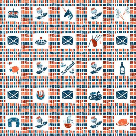 loch: Plaid fabric vector seamless pattern, symbols of Scotland Illustration