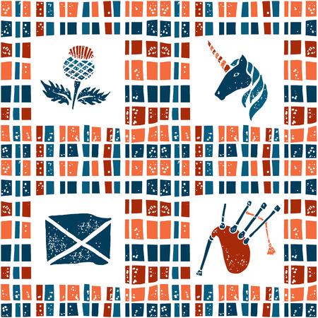 gaita: vector de tela a cuadros sin patrón, símbolos de Escocia