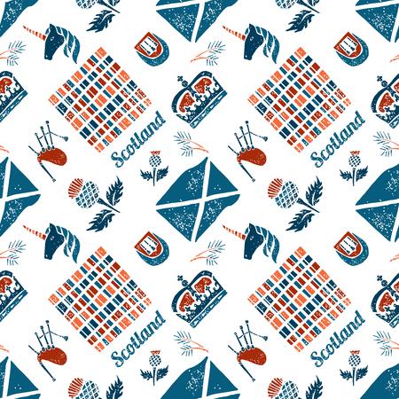 Vector seamless pattern Scotish symbols on white background Illustration