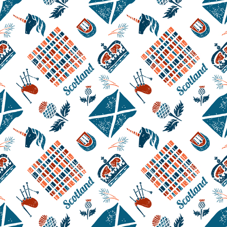 scotish: Vector seamless pattern Scotish symbols on white background Illustration