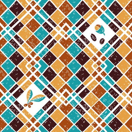 Vector seamless  pattern Argyle and Coffee beans