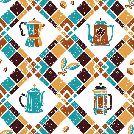preppy: Vector seamless  pattern Argyle and Coffee jugs