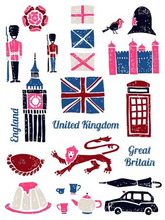 Symbols of UK vector set in lino style