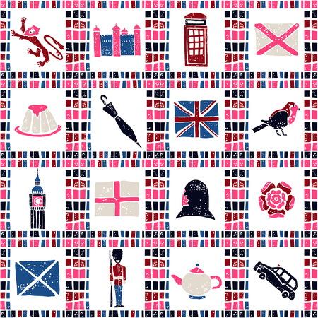 constable: Plaid fabric vector seamless pattern, symbols of United Kingdom