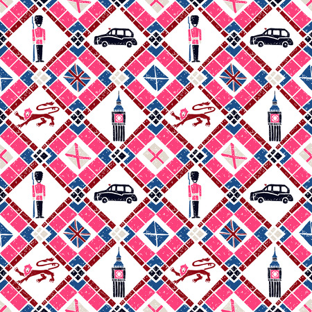 preppy: Vector seamless pattern Argyle and British flags