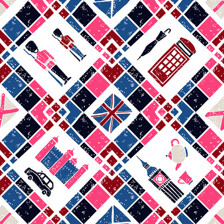 preppy: vector seamless pattern Argyle and English Symbols