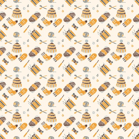 hinges: Vector seamless pattern on a knitting theme in brown, knitted things