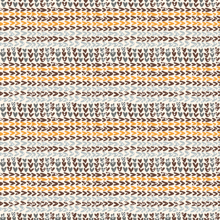 linocut: Knitted texture in the brown color scheme, vector seamless pattern