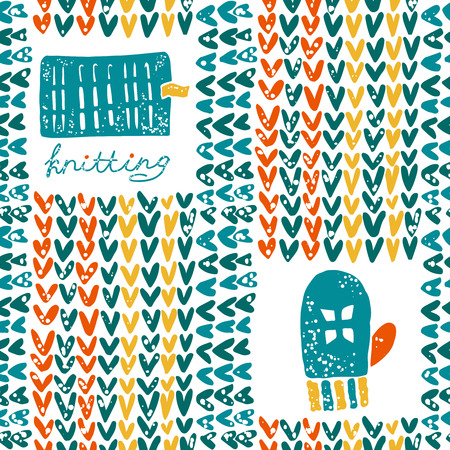 hinges: Vector seamless pattern with knitting accessories and mittens