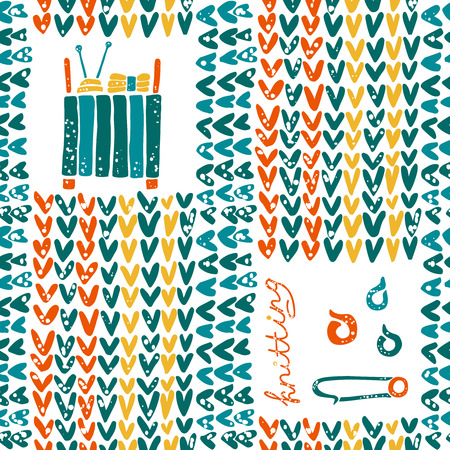 Vector seamless pattern with knitting accessories and pin