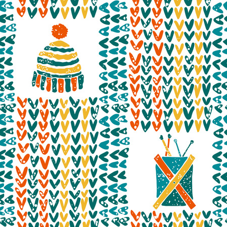 hinges: Vector seamless pattern with knitting accessories and hat