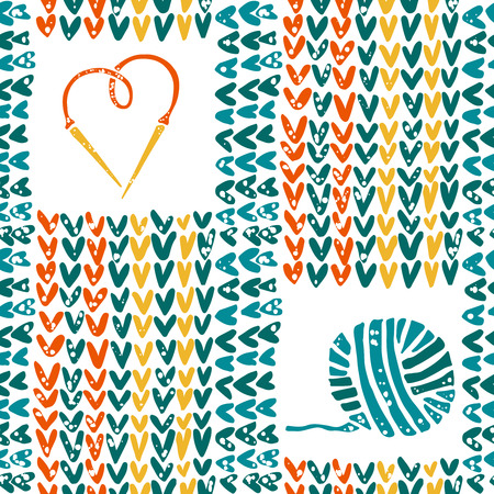 Vector knitted seamless pattern needles and yarn Illustration