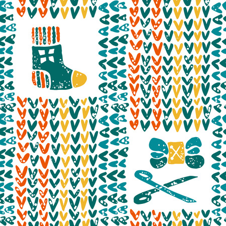 hinges: Vector seamless pattern with yarn and knitted sock Illustration