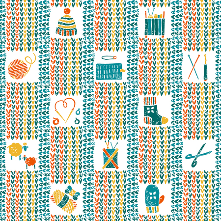 hinges: Vector knitted seamless pattern with knitting accessories Illustration