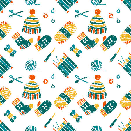 hinges: Vector seamless pattern on a knitting theme in bight colors, knitted things