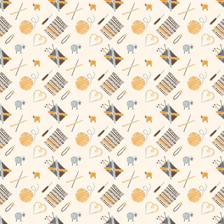 hinges: Vector seamless pattern on a knitting theme in brown, knitting accessories