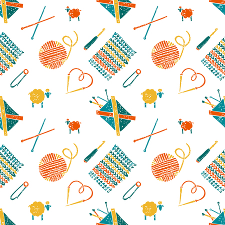 hinges: Vector seamless pattern on a knitting theme, knitting accessories