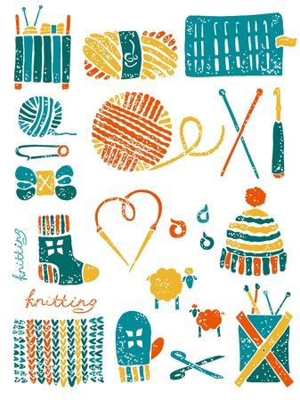 linocut: Vector knitting set in lino cut style