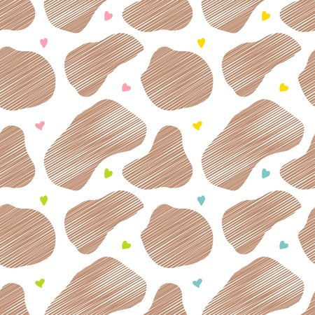 pasteurized: Seamless pattern Brown cow spots and hearts