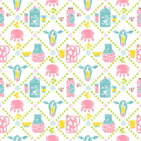 pasteurized: Seamless pattern. Milk jar and cow