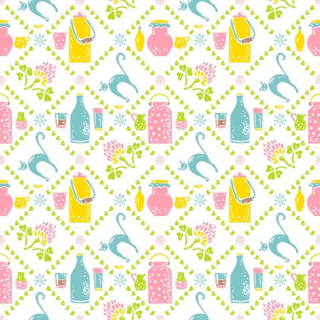 udder: Seamless pattern. Milk jar and cat