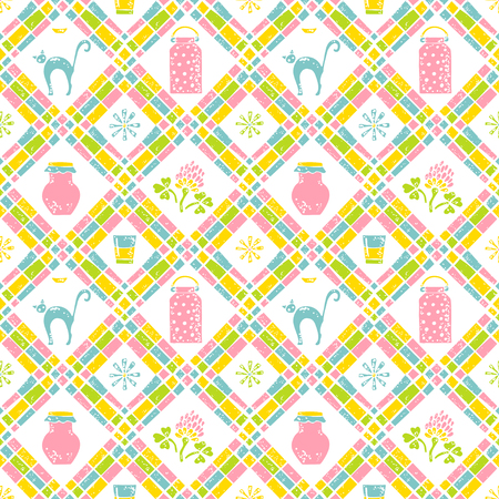 udders: Seamless pattern. Milk can and cat Illustration