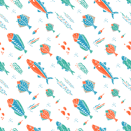 naive: Underwater seamless pattern in naive lino style