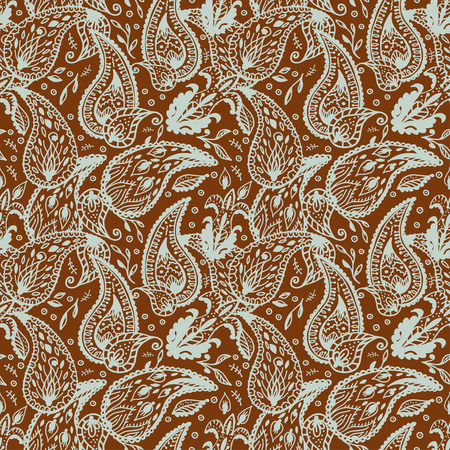 cypress tree: Seamless pattern  in two colors Paisley design Illustration