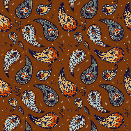 cypress tree: Seamless pattern in Paisley textile design Illustration