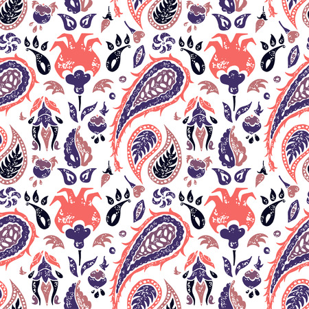 cypress tree: Seamless pattern in a Paisley eco style in a lavander colors Illustration